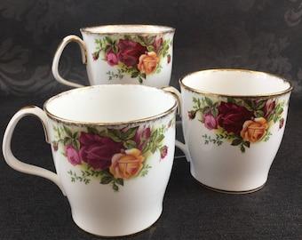 Royal Albert Old Country Roses English Bone China Set of 3 Coffee Mugs