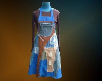 Spring/summer, linen and denim, destroy/contemporary style apron dress