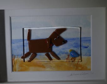 Mixed media 3D Fused Glass and watercolor wall art shadowbox. Chocolate lab.  brown dog with friend House warming, teacher gift, dog lover