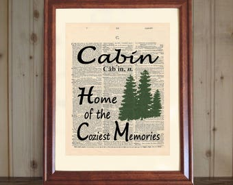 Cabin Dictionary Print, Cabin Print, Cabin Quote, Cabin Wall Art, Cabin Hostess Gift, Cabin Sign, Cabin Gift, Cabin Print Woods, Cabin Fun
