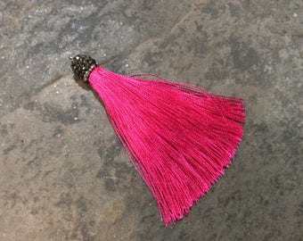 Dark Pink Burgundy silk tassels with decorative beaded silver cap Beautiful tassels for Jewelry Making