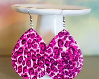 Leopard Print Jewelry, Leopard Print Earrings, Statement Jewelry, Statement Earrings, Pink Jewelry, Pink Earrings, Large Jewelry