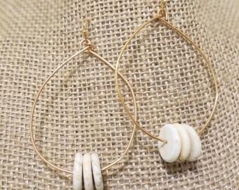 Organic Gold Hoops | Beaded Hoops
