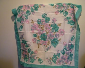 Vintage Valentina Fiore Turquoise Pink Floral Square Polyester Scarf