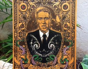 HP Lovecraft, Cthulhu, H.P. Lovecraft Portrait, Horror Writer, Kraken Art, Limited Edition, Wood Wall Art, Laser Engraving, Men Gift