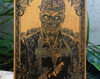 Brain Dead, Gothic Artwork, Brain Zombie, Horror Art, Brain Art Poster, Wood Engraving, Akihito Artist Collaboration, Limited Edition Art