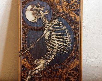 Anatomical Art Human Skeleton, Wood Wall Medical Decor, Doctor Cabinet, Med Student Gift, Carved Art on Wood, Horror Decor, Horror Art