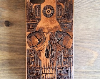 Cross Skull iPhone 7 Case, Samsung Galaxy S8 Plus Case, Skull Gift Idea For Him, Wooden Cell Phone Case, Galaxy S7Edge Case, Samsung Case,