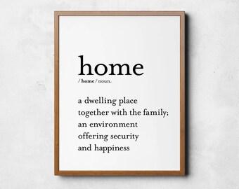 Home definition print, home sign printable, Digital prints, New home decor, Wall decor, Living room decor, Family sign, Home gift, Home sign