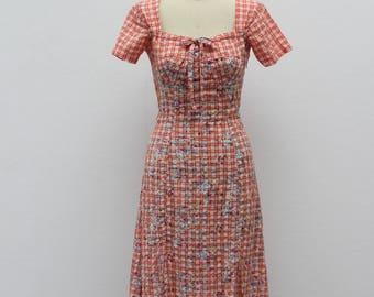 Vintage 1970s Orange Floral Dress with Slits