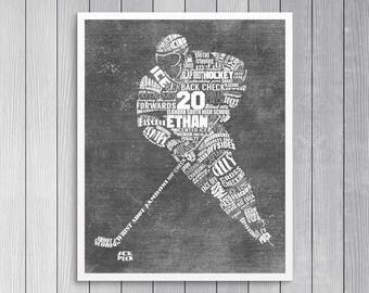 Personalized HOCKEY Word Art - Add Player's Name, Number, Team Name HOCKEY Gift Hockey Coach's Gift Printable  Printed & Shipped