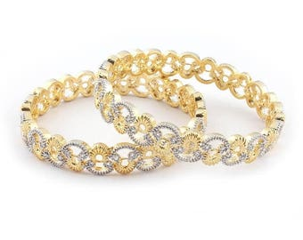 VALENTINE DAY SALE 2 Pcs 24 Ct Gold Plated Cubic Zirconia Bangle - Best Quality 24 ct Gold Plated Bangle Size:2.45 Cz042