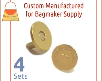"18 mm Extra Thin Magnetic Snaps, Gold Finish, 4 Set Pack, Purse Handbag Bag Making Hardware Supplies, 3/4"", 3/4 Inch, BSN-AA037"