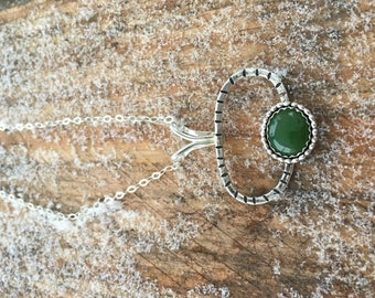 Sterling Silver Jade Statement Necklace