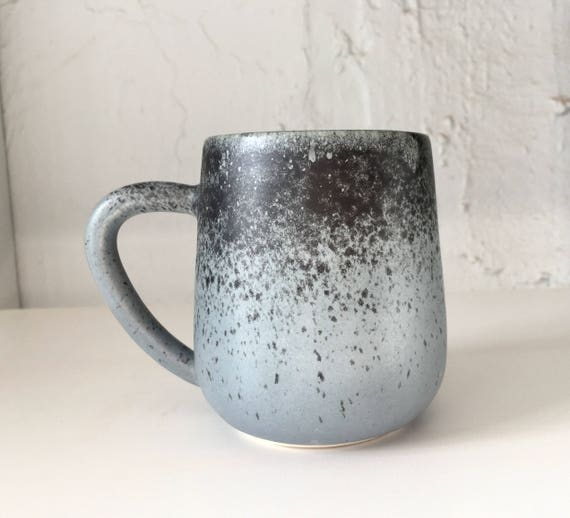 ceramic mug - blue coffee cup -modern mug blue with black spray-NEW! Limited edition!