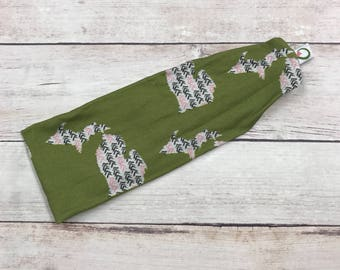 Exclusive Michigan Sassy Olive Sassy Stretch headband; The Sassy Olive; Michigan; Michigan headband; Michigan fabric
