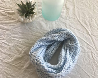 Small blue infinity scarf