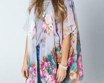 The Florence Kimono- MULTI Boho Kimono Beach Cover Up, Long Kimono Robe, Summer Kimono, Bohemian Print Kimono, Boho Fashion