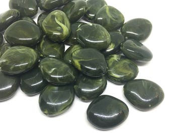 Olive Green Beads, The Princess Collection, 25mm Beads, big acrylic beads, bracelet necklace earrings, jewelry making, dark green jewelry