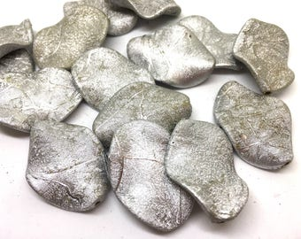 Silver Textured Wave beads, 35mm silver  beads, Bangle Making, Jewelry Making, gray Jewelry necklace, silver Statement chunky gray