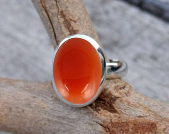 Carnelian Stone Ring, Sterling Silver Carnelian Ring Gift For Girlfriend  Teen Women Idea,Natural Stone All Size US 3 to 16