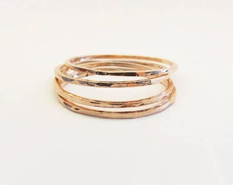 Summer sale 25% Off Set of 4 Super Thin Stackable Copper Rings - Hammered Copper Ring  - Trendy Jewelry