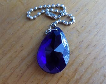 Cobalt Blue Crystal Teardrop Ceiling Fan Pull Chain, Crystal Light Pull, Prism Suncatcher, Fan Accessories, Lighting Decor