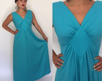 Small 1970s turquoise blue maxi dress