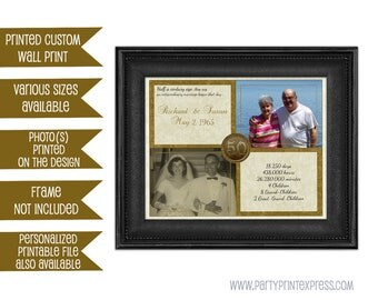 50th anniversary gift gold 50th wedding anniversary anniversary gift print then and now