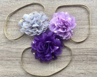 Baby Headband, Flower Headband, baby accessories, Girls Headband, Lilac Blue flowers, first birthday headband
