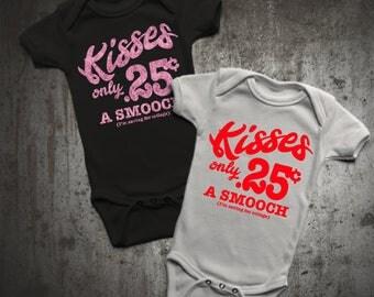 Kisses only 25 cents  5 oz. Baby Lap Shoulder Bodysuit