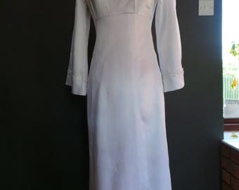 Empire line wedding dress , Vintage gown in white satin with floral trim