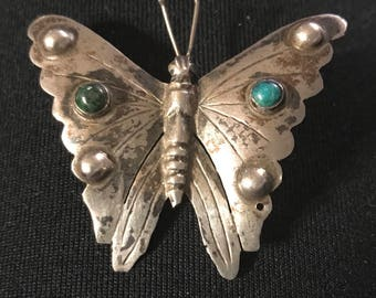Vintage Mexico Sterling & Turquoise Butterfly Pin