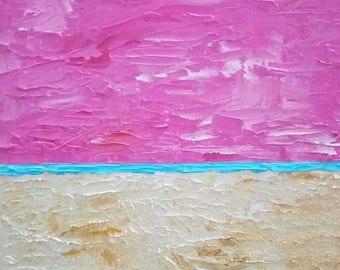 Pink Sky Beach Abstract Painting, Original Oil Painting, 8x8 Inches 20x20cm