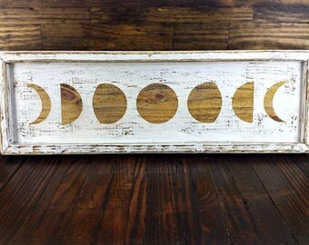 Made on Order: Distressed White Tray, Lunar Cycle Tray, Moon Phase Box, Shallow Vanity Tray, Wood Jewelry Tray, Candle Holder, Crystal Box