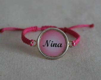 Cabochon bracelet with personalized first name