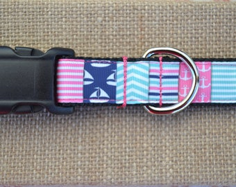 Nautical Patchwork Dog Collar