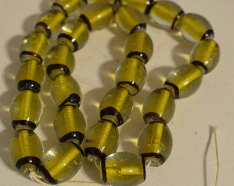 Beads Czechoslovakian Yellow Black Abstract Glass Beads Jewelry Necklace Pendant Glass Beads