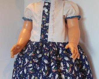 "Blue Holiday Print Dress Set for 30"" Effanbee Mary Jane Dolls"