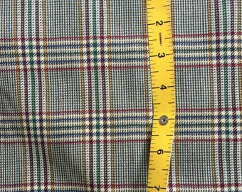 Fine Pure New Wool Checked Plaid Fabric 150 cm /58 inches wide sold in 1 meter lengths