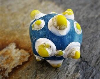 Large Bumpy Rustic Blue Yellow Glass Bead