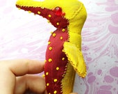 Strawberry seahorse fabric sculpture textile animal art ocean creature yellow and red sea horse