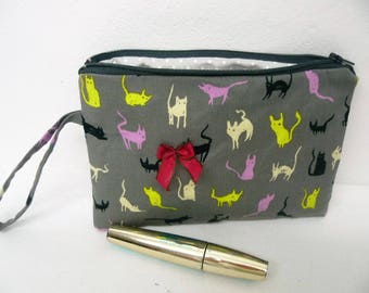 Grey cats fabric make-up colored