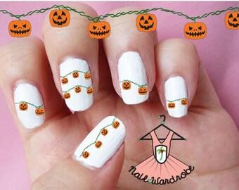 Pumpkin Lights Halloween Nail Decals  (Waterslide Nail Decal)