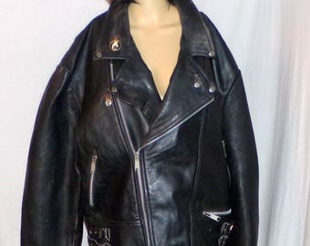 Men's Leather Bikers Coat fringed with/Biker Pins! AMI London Leather 80's or earlier Heavy Size 48 (XL) Vintage Find Low and Fast SHIPPING