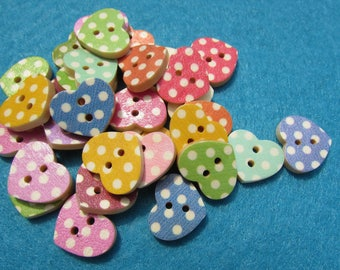 Pack of 10 16mm Wooden Spotty Heart Buttons