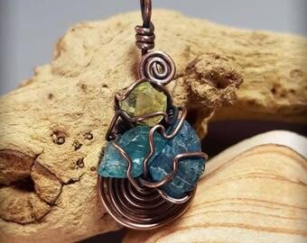 Wire Wrapped Multicolored Apatite Pendant