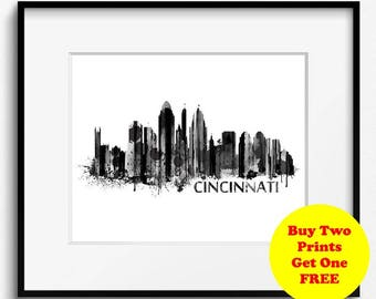 Cincinnati Skyline Watercolor Black and White Art Print (718) Cityscape Ohio USA