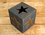 Rustic Star Tissue Box - Handmade Embossed Brass Stars Cutout Black Gold Kleenex western wooden wood