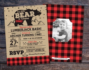 ANY AGE,Lumberjack birthday Invitation //  Buffalo Plaid Woodland Invitation // Lumberjack Invite // Rustic  //  Bear , camping